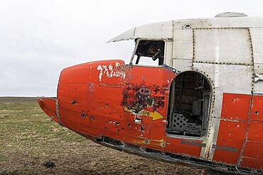 Cockpit, emergency-landed American Air Force transport aircraft Douglas R4D-6 41-50187, near Porshoefn, Sauoanes, Langanes Peninsula, Iceland, Europe