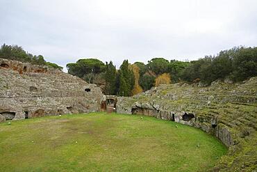 Roman amphitheatre carved out of the tufa, Sutri, Viterbo Province, Lazio Region, Italy, Europe