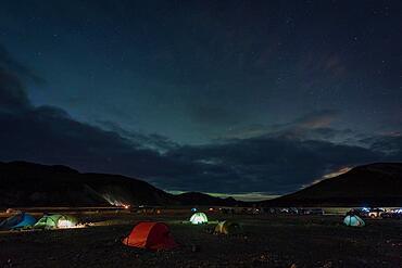 Campsite Landmannalaugar, Starry sky, Icelandic highlands, Iceland, Europe