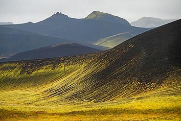 Mossy hills, crater landscape near Veioivoetn, Icelandic Highlands, Iceland, Europe