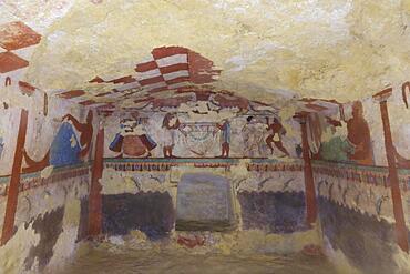 Tomba delle Leonesse Tomb of the Lionesses with frescoes from c. 530 BC, Etruscan Monterozzi Necropolis, Tarquinia, Viterbo Province, Lazio Region Latium, Italy, Europe