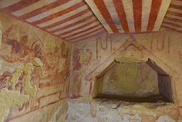 Burial chamber with frescoes, Etruscan Monterozzi necropolis, Tarquinia, Viterbo province, Lazio Latium region, Italy, Europe