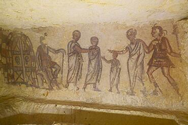 Burial chamber 5636 with frescoes from the 3rd century BC, Etruscan Monterozzi Necropolis, Tarquinia, Viterbo province, Lazio Latium region, Italy, Europe