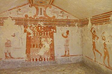 Tomba Cardarelli burial chamber with frescoes from the 6th century BC, Etruscan Monterozzi Necropolis, Tarquinia, Viterbo province, Lazio Latium region, Italy, Europe