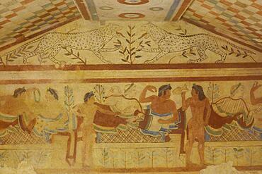Tomba dei Leopardi Tomb with frescoes from the 5th century BC, Etruscan Monterozzi Necropolis, Tarquinia, Viterbo Province, Lazio Region Latium, Italy, Europe