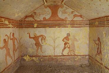Tomba dei Baccanti Tomb of the Bacchants with frescoes from the 6th century BC, Etruscan Monterozzi Necropolis, Tarquinia, Viterbo Province, Lazio Region Latium, Italy, Europe