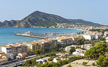 View of seaside Altea from Mirador de la Plaza de la Iglesia in Old Town, Bay of Altea, Costa Blanca, Spain, Europe