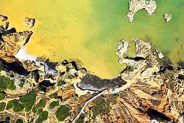 Aerial view of Camilo Beach, Ponta da Piedade, Lagos, Algarve, Portugal, Europe