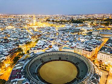 Bullring of the Real Maestranza de Caballeria surrounded by white architecture in Sevilla, Andalusia, Spain, Europe