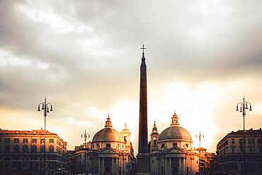 Sunrise in a square with old buildings, Piazza del Popolo, Rome, Italy, Europe