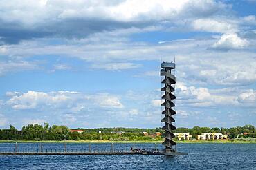 Water level tower, Grosser Goitzschesee, Goitzsche near Bitterfeld, Saxony-Anhalt, Germany, Europe