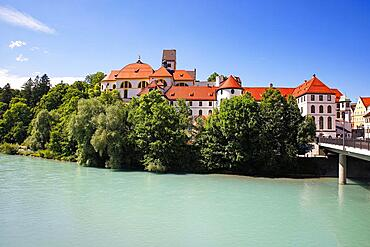 St. Mang Monastery and Town Parish Church on the River Lech, Fuessen, Romantic Road, Ostallgaeu, Bavaria, Germany, Europe