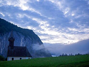 Morning atmosphere, Raphael Church, village church in Goessl, Grundlsee municipality, Ausseerland, Salzkammergut, Styria