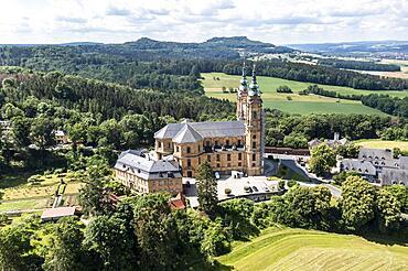 Aerial view, Vierzehnheiligen Basilica, Upper Main Valley, Upper Franconia, Franconia, Bavaria, Germany, Europe