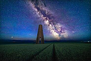 Milky Way over The Daymark, Kingswear, Dartmouth, Devon, England, United Kingdom, Europe