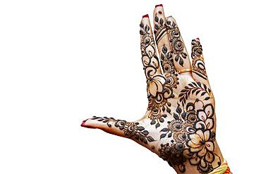 Hand of Hindu bride painted with hennas isolated on white background, Mauritius, Africa