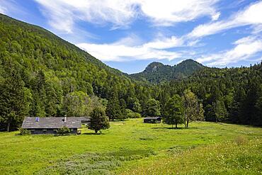 Alpine huts near Schwarzensee, municipality of St.Wolfgang, Salzkammergut, Upper Austria, Austria, Europe
