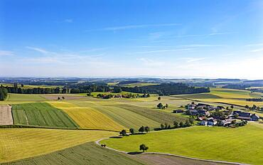 Drone image, agricultural landscape, agricultural fields with farms near Waldzell, Innviertel, Upper Austria, Austria, Europe