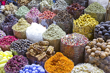 View of colourful and exotic spices, Spice Souk, Dubai, United Arab Emirates, Middle East