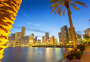Downtown Miami skyline from Brickell Key at dusk, Downtown Miami, Miami, Florida, United States of America, North America