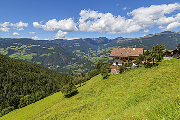 View of countryside near Laion and surrounding mountains, Belluno Province, Trento, Dolomites, Italy, Europe