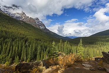 Mountainous landscape at Moraine Lake, Banff National Park, UNESCO World Heritage Site, Canadian Rockies, Alberta, Canada, North America