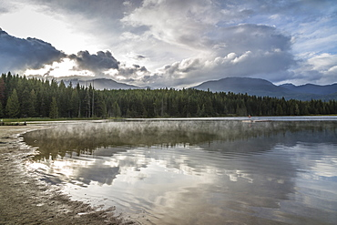 Mist on Lost Lake, Ski Hill and surrounding forest, Whistler, British Columbia, Canada, North America