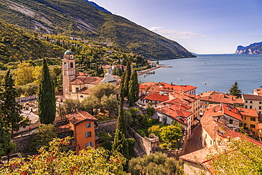Panoramic view of Lake Garda, Chiesa di S. Andrea and the port of Torbole, Lake Garda, Province of Trento, Italian Lakes, Italy, Europe