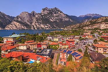 Panoramic view of Lake Garda and the port of Torbole, Lake Garda, Province of Trento, Italian Lakes, Italy, Europe
