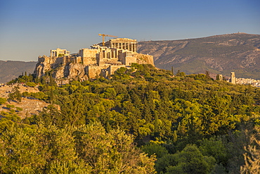 View of The Acropolis, UNESCO World Heritage Site, during late afternoon from Filopappou Hill, Athens, Greece, Europe