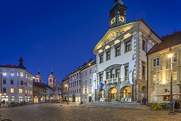 View of Cathedral of St. Nicholas and Town Hall at dusk, Ljubljana, Slovenia, Europe