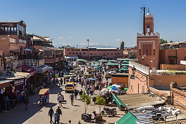 Elevated view of Jemaa el Fna (Djemaa el Fnaa) Square, UNESCO World Heritage Site, during daytime, Marrakesh, Morocco, North Africa, Africa