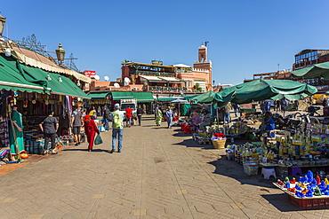 Various stalls on Jemaa el Fna (Djemaa el Fnaa) Square, UNESCO World Heritage Site, during daytime, Marrakesh, Morocco, North Africa, Africa