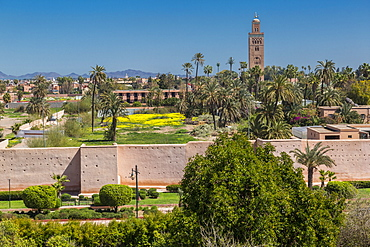 Elevated view of Koutoubia Mosque and city wall during daytime, Marrakesh, Morocco, North Africa, Africa