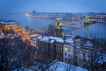 View of Chain Bridge, River Danube and Hungarian Parliament Building from Budapest Castle in winter, UNESCO World Heritage Site, Budapest, Hungary, Europe