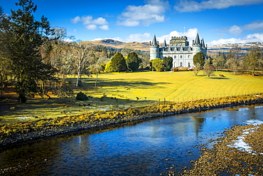 View of Inveraray Castle and River Aray, Argyll and Bute, Scotland, United Kingdom, Europe