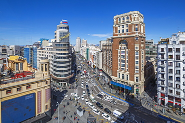 Elevated view from tall building looking down on Plaza del Callao and Gran Via , Madrid, Spain, Europe