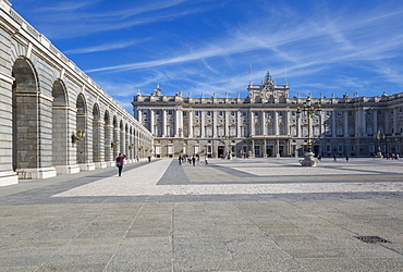 View of Royal Palace on bright sunny morning, Madrid, Spain, Europe