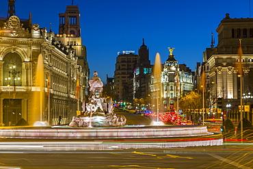 View of Cibeles Fountain in Plaza Cibeles at dusk, Madrid, Spain, Europe