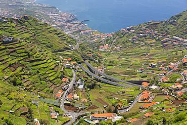 View of countryside and Atlantic Ocean near Cabo Girao, Camara de Lobos, Madeira, Portugal, Atlantic, Europe