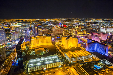 View of Las Vegas and The Strip from helicopter at night, Las Vegas, Nevada, United States of America, North America