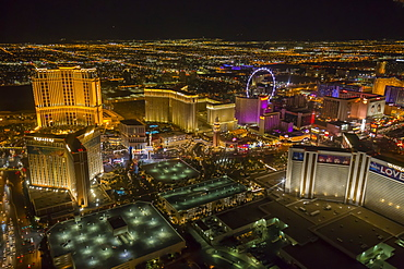 View of Las Vegas and the suburbs from helicopter at night, Las Vegas, Nevada, United States of America, North America