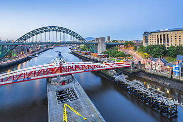 View of The Tyne Bridge, Swing Bridge and Tyne River at dusk, Newcastle-upon-Tyne, Tyne and Wear, England, United Kingdom, Europe