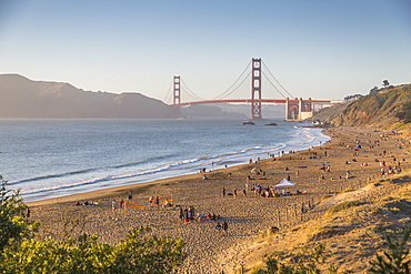 View of Golden Gate Bridge from Baker Beach at sunset, South Bay, San Francisco, California, United States of America, North America