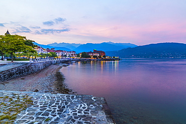 View of lakeside restaurants at dusk in Stresa, Lago Maggiore, Piedmont, Italian Lakes, Italy, Europe