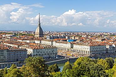 View of Turin from Santa Maria del Monte dei Cappuccini, Turin, Piedmont, Italy, Europe