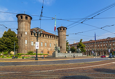 View of Castle in Piazza Castello, Turin, Piedmont, Italy, Europe