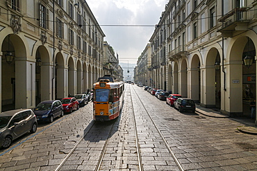 View of tram on Via Roma, Turin, Piedmont, Italy, Europe