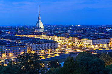 View of Turin and Mole Antonelliana from Santa Maria del Monte dei Cappuccini at dusk, Turin, Piedmont, Italy, Europe