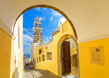 View of clock tower of Church Ag Loannis Baptistis, Fira, Santorini (Thira), Cyclades, Greek Islands, Greece, Europe